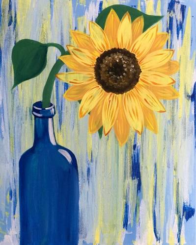 A Sunflower in a Wine Bottle paint nite project by Yaymaker