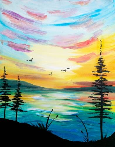 A Sunrise on the Water II paint nite project by Yaymaker
