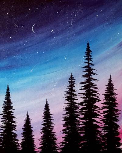 A Moonlit Pines paint nite project by Yaymaker