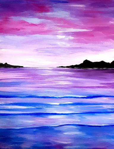A Pink Beach Sunset paint nite project by Yaymaker