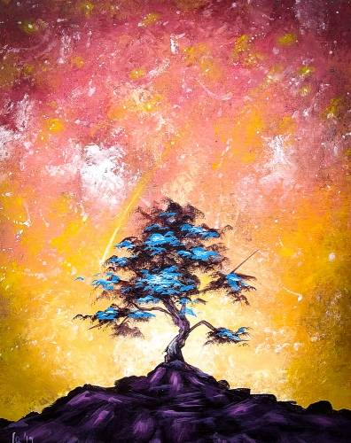 A Beautiful Blue Tree paint nite project by Yaymaker