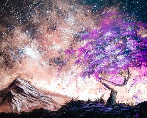 A Cool Purple Tree paint nite project by Yaymaker