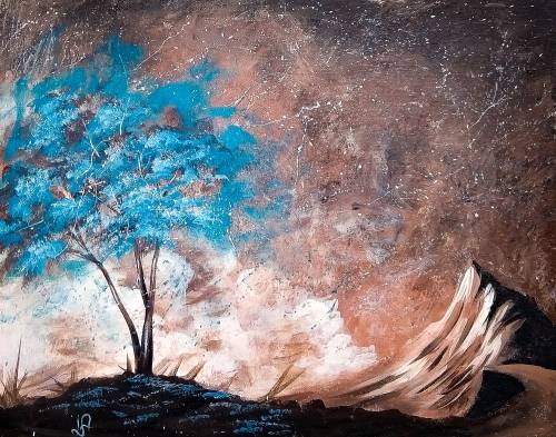 A Cool Teal Tree paint nite project by Yaymaker