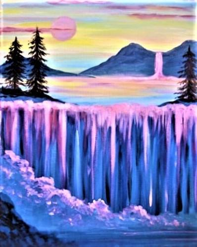 A Dreaming of Waterfalls paint nite project by Yaymaker