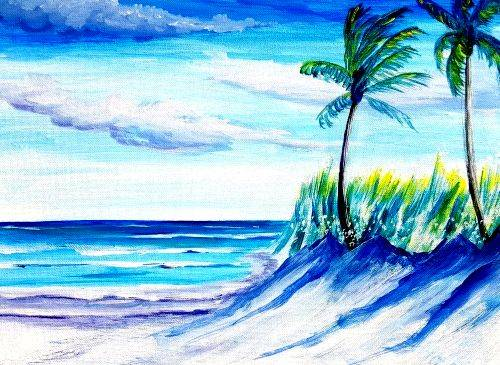 A Tropical Beach Breezes paint nite project by Yaymaker
