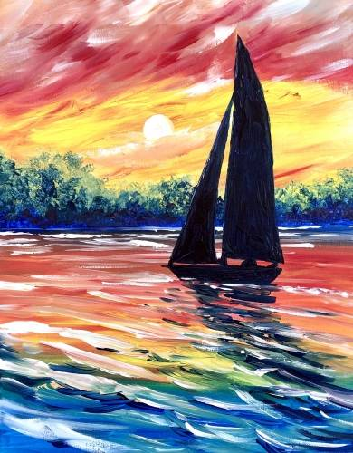 A Sailing on a Rainbow paint nite project by Yaymaker