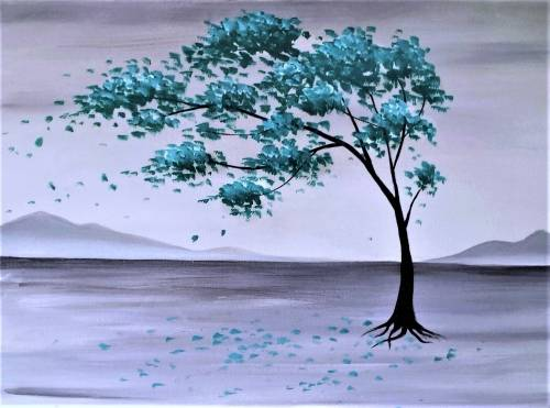 A Lone Teal Tree paint nite project by Yaymaker