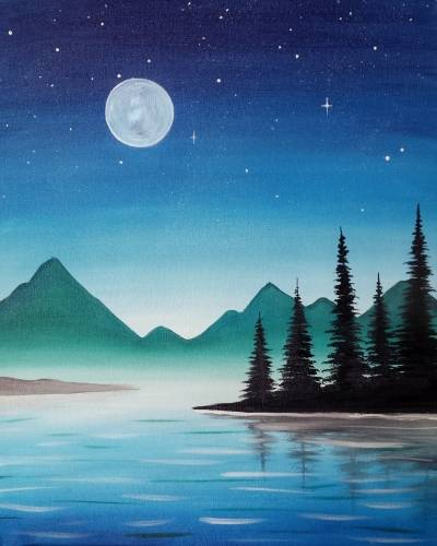 A Blue Summer Night paint nite project by Yaymaker