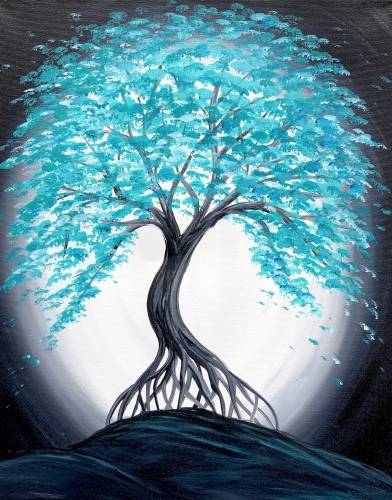 A Teal Bonsai In the Moonlight paint nite project by Yaymaker