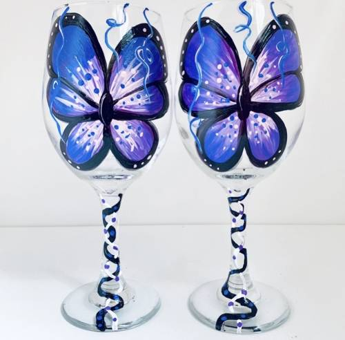 A Social Butterfly Wine Glasses paint nite project by Yaymaker