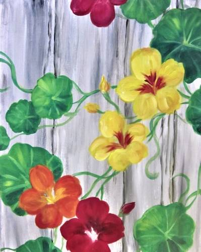 A Barnyard Nasturtiums paint nite project by Yaymaker