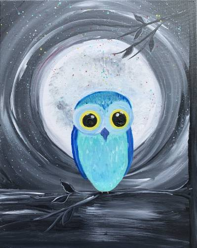 A Owl n at the Moon paint nite project by Yaymaker
