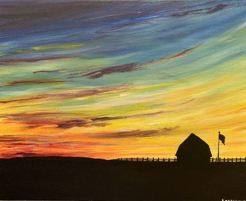 A Sunrise on the Farm paint nite project by Yaymaker