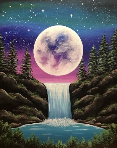 A Moonlight Falls paint nite project by Yaymaker