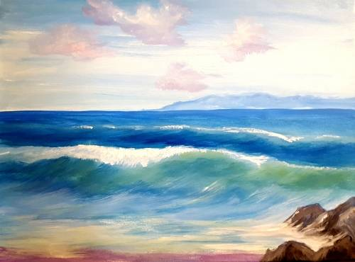 A Beach Wave Sunset paint nite project by Yaymaker