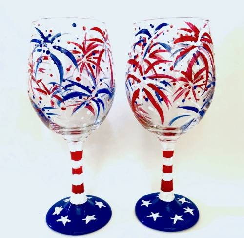 A Party In The USA Wine Glasses paint nite project by Yaymaker