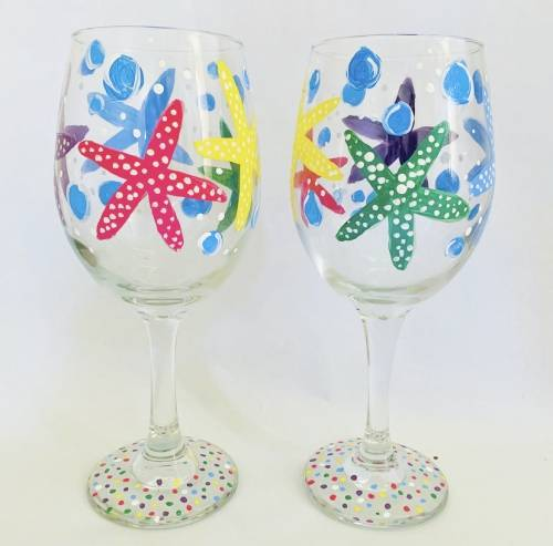 A Under The Sea Wine Glasses paint nite project by Yaymaker