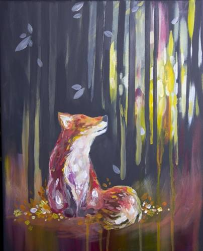 A Rainbow Meadow Fox paint nite project by Yaymaker