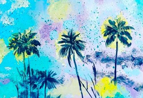A Turquoise Palms paint nite project by Yaymaker