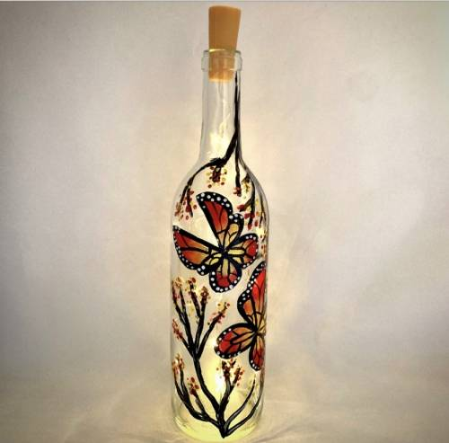 A Beautiful Butterfly Wine Bottle with Fairy Lights II paint nite project by Yaymaker