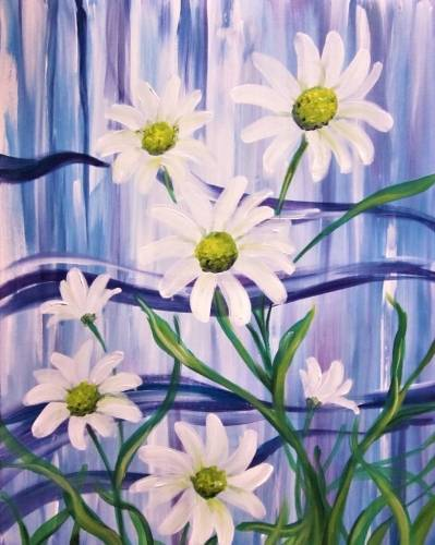 A Wild and Crazy Daisies paint nite project by Yaymaker