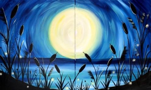 A Beach Moonlight  Partner Painting paint nite project by Yaymaker
