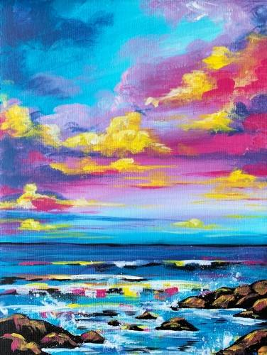 A Rocky Beach at Dawn paint nite project by Yaymaker
