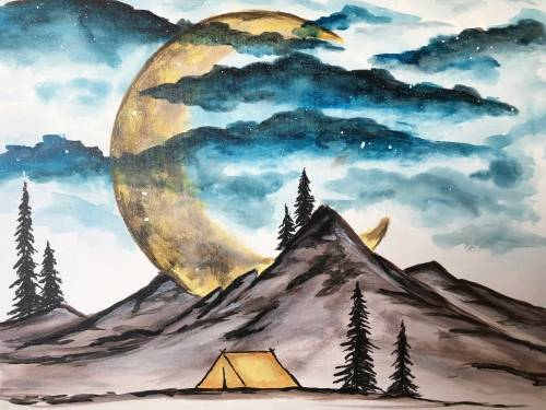 A Crescent Moon Camping paint nite project by Yaymaker
