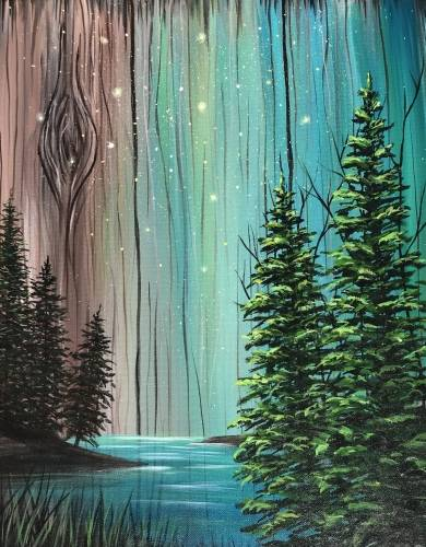 A Rustic Forest Glow paint nite project by Yaymaker
