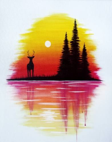 A Deer at Dusk paint nite project by Yaymaker