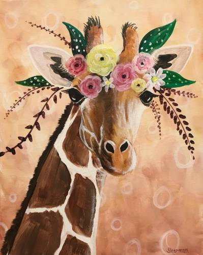 A Giraffe Gala paint nite project by Yaymaker