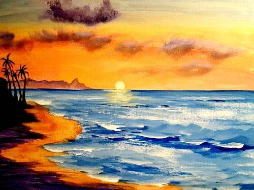 A Vacation Beach Sunset paint nite project by Yaymaker