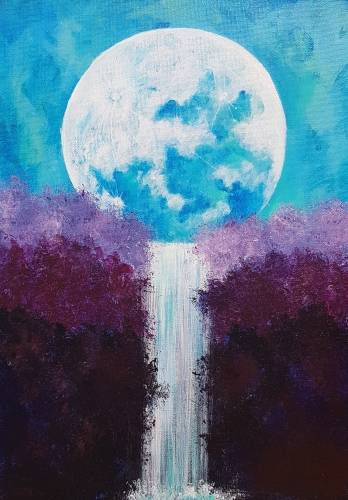 A Bright Moonlit Waterfall paint nite project by Yaymaker