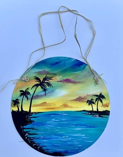 A Beach Dream Wood Hanging paint nite project by Yaymaker