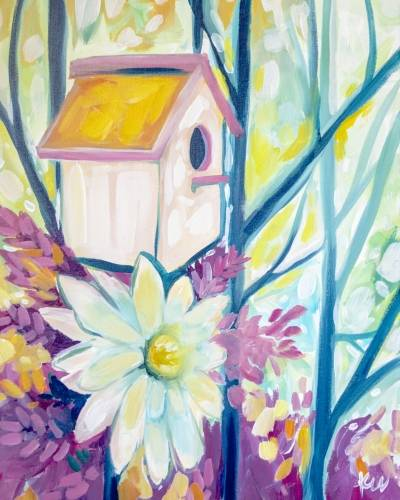 A Blooming Birdhouse paint nite project by Yaymaker