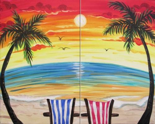 A Paradise for Two Partner Painting paint nite project by Yaymaker