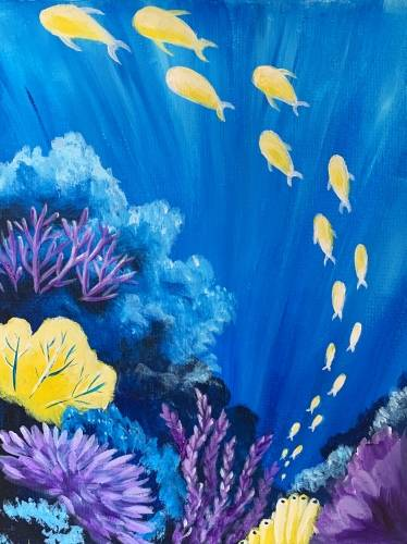 A Coral Reef in Motion paint nite project by Yaymaker