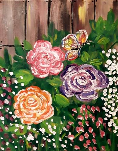 A Raging Rose Garden paint nite project by Yaymaker