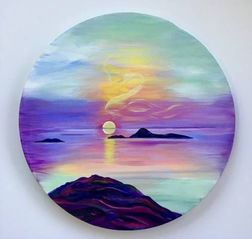 A Sunset Swan  16 Round Canvas paint nite project by Yaymaker