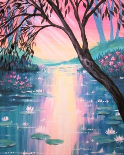 A Sparkling Morning Lily Pond paint nite project by Yaymaker