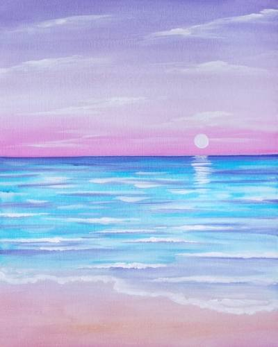 A Rosy Beach paint nite project by Yaymaker