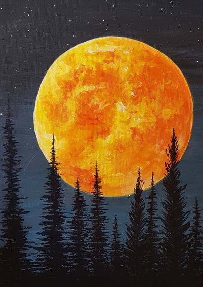 A Blood Moon Rising paint nite project by Yaymaker