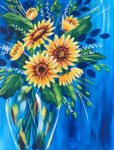 A Sunflower Bouquet paint nite project by Yaymaker