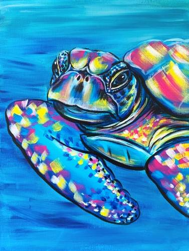 A Colorful Sea Turtle paint nite project by Yaymaker
