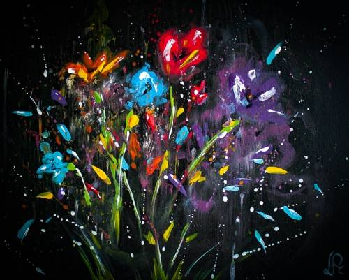 A Colorful Abstract Flowers paint nite project by Yaymaker