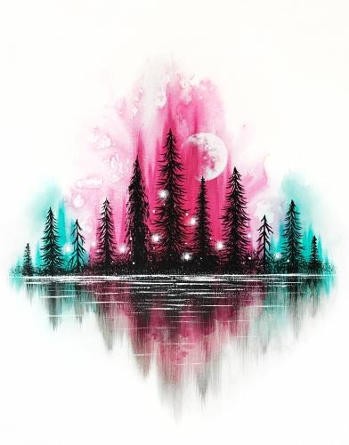 A Mystic Forest Reflection paint nite project by Yaymaker