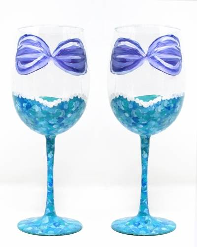 A Mermaid Wine Glasses II paint nite project by Yaymaker