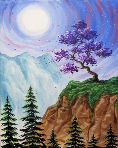 A Hilltop Purple Blossoms paint nite project by Yaymaker
