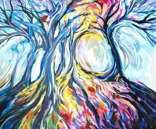 A Rainbow Tree Mosaic paint nite project by Yaymaker