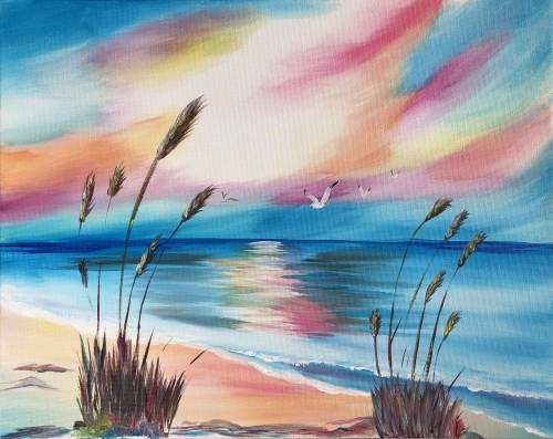 A Ocean Side Paradise paint nite project by Yaymaker